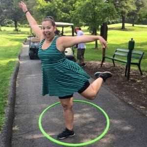 Hooping at the 2015 Jimmy's Gold Tournament supporting the Herndon Council for the Arts. Photo by Herndon Mayor Lisa Merkel .